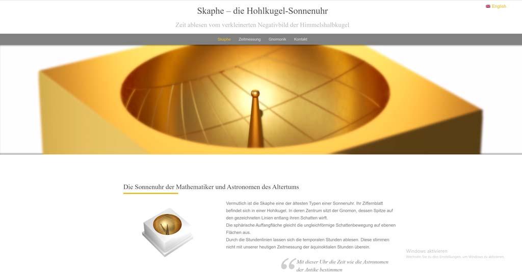 Webseitengestaltung Sonnenuhr Skaphe