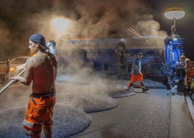Industriefotografie Baustellenfotografie Gussasphalt Autobahn