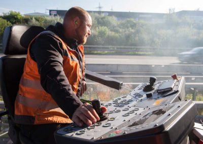 Industriefotografie Baustellenfotografie Asphaltfertiger Autobahn Strassenbau